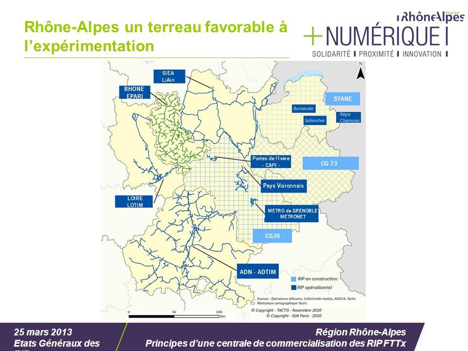 25 mars 2013 Etats Généraux des RIP Région Rhône-Alpes Principes dune centrale de commercialisation des RIP FTTx Rhône-Alpes un terreau favorable à lexpérimentation