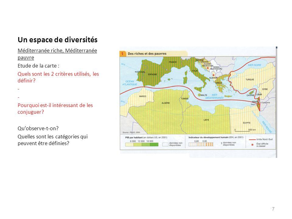 Un espace de diversités Méditerranée riche, Méditerranée pauvre Etude de la carte : Quels sont les 2 critères utilisés, les définir? - Pourquoi est-il