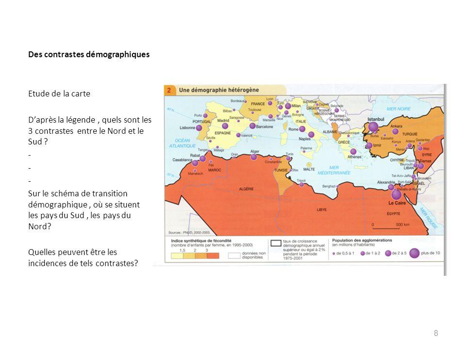 Des contrastes démographiques Etude de la carte Daprès la légende, quels sont les 3 contrastes entre le Nord et le Sud ? - Sur le schéma de transition