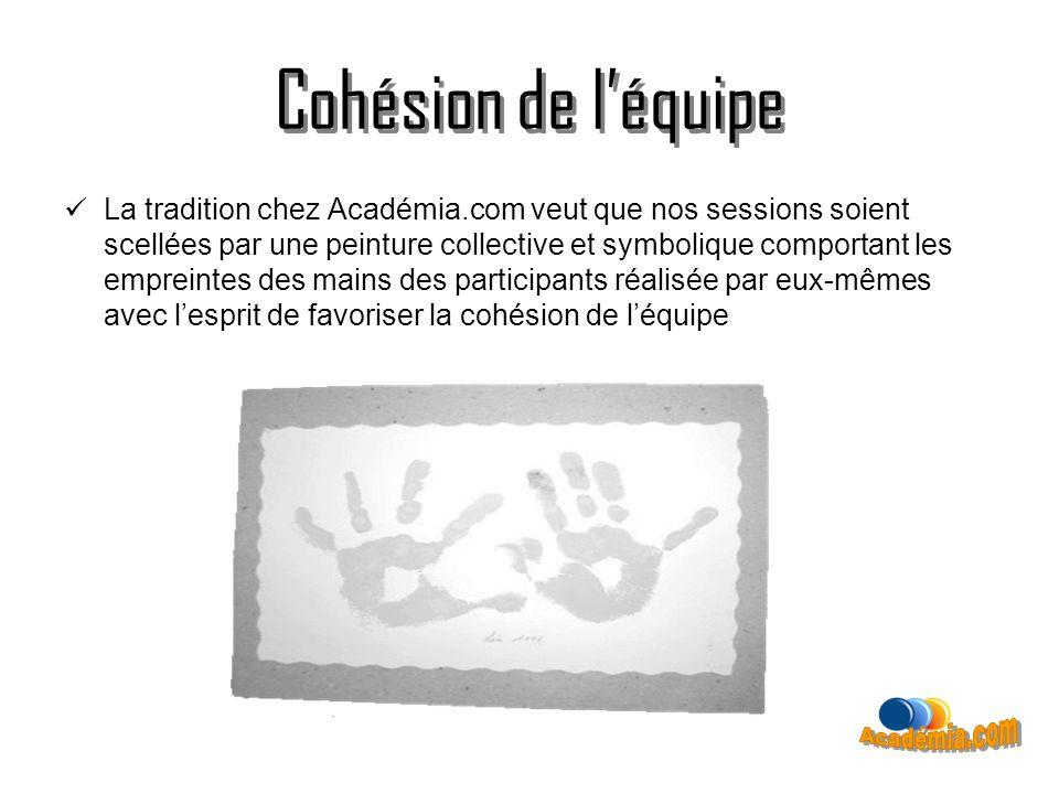 Cohésion de léquipe La tradition chez Académia.com veut que nos sessions soient scellées par une peinture collective et symbolique comportant les empr