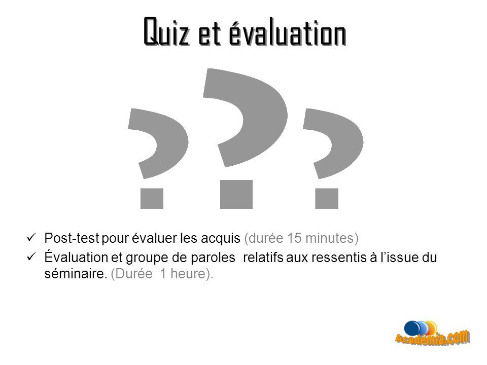 Quiz et évaluation Post-test pour évaluer les acquis (durée 15 minutes) Évaluation et groupe de paroles relatifs aux ressentis à lissue du séminaire.