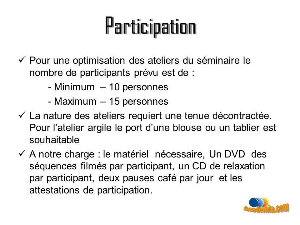 Participation Pour une optimisation des ateliers du séminaire le nombre de participants prévu est de : - Minimum – 10 personnes - Maximum – 15 personn