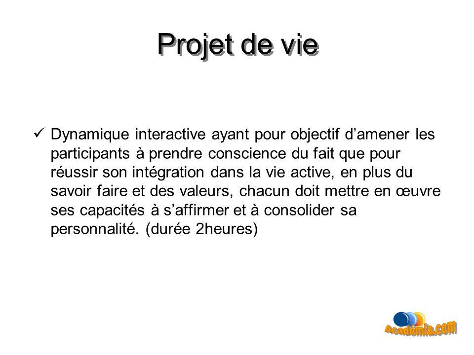 Projet de vie Dynamique interactive ayant pour objectif damener les participants à prendre conscience du fait que pour réussir son intégration dans la