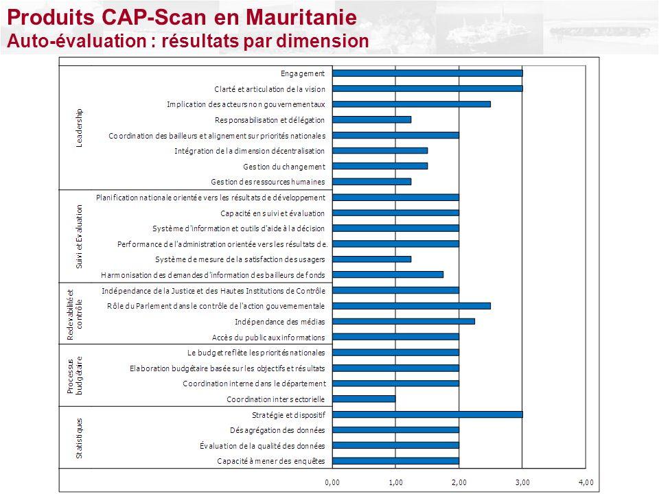 Produits CAP-Scan en Mauritanie Auto-évaluation : résultats par dimension