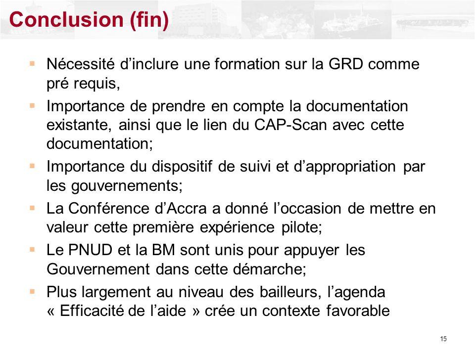 Nécessité dinclure une formation sur la GRD comme pré requis, Importance de prendre en compte la documentation existante, ainsi que le lien du CAP-Sca
