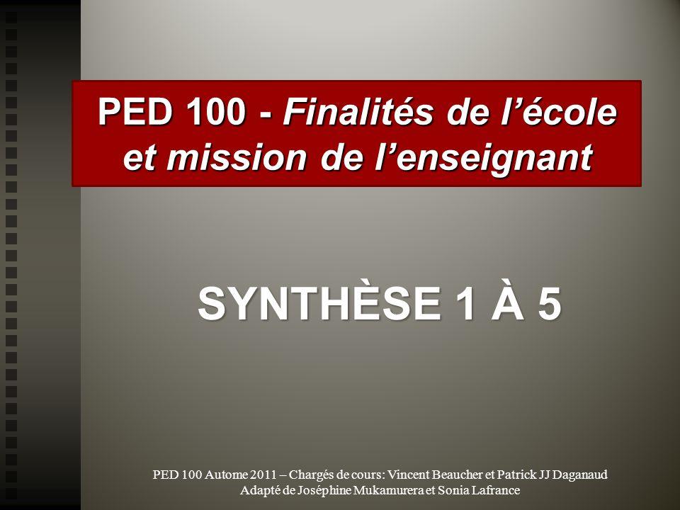 PED 100 Autome 2011 – Chargés de cours: Vincent Beaucher et Patrick JJ Daganaud Adapté de Joséphine Mukamurera et Sonia Lafrance PED 100 - Finalités d