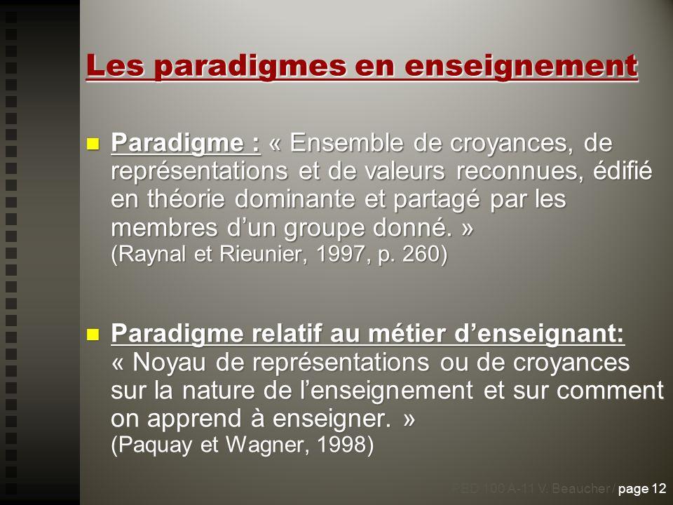 Les paradigmes en enseignement Paradigme : « Ensemble de croyances, de représentations et de valeurs reconnues, édifié en théorie dominante et partagé