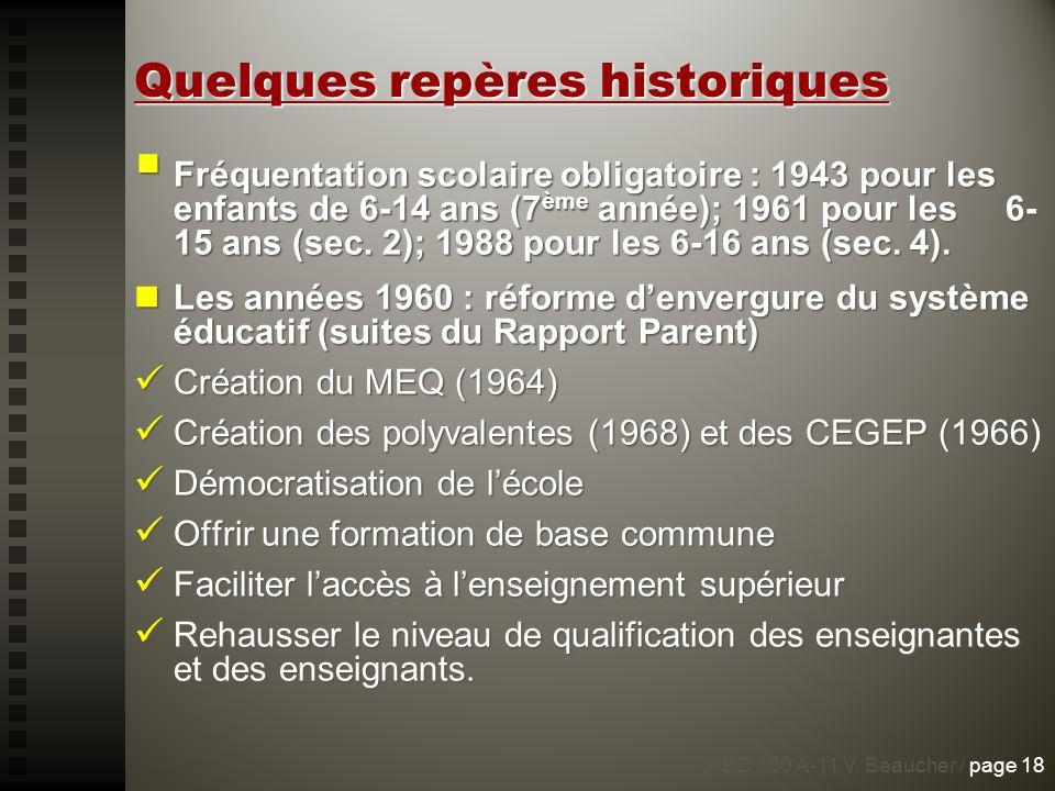 Quelques repères historiques Fréquentation scolaire obligatoire : 1943 pour les enfants de 6-14 ans (7 ème année); 1961 pour les 6- 15 ans (sec. 2); 1