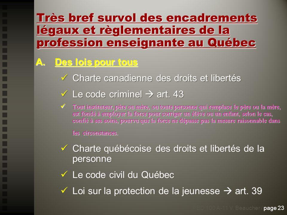 Très bref survol des encadrements légaux et règlementaires de la profession enseignante au Québec A.Des lois pour tous Charte canadienne des droits et
