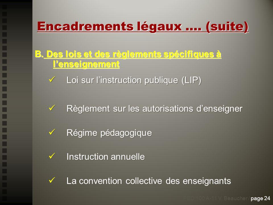 Encadrements légaux …. (suite) B. Des lois et des règlements spécifiques à lenseignement Loi sur linstruction publique (LIP) Loi sur linstruction publ