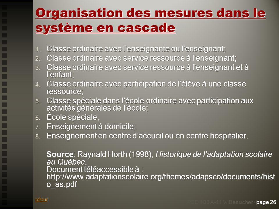 Organisation des mesures dans le système en cascade 1. Classe ordinaire avec lenseignante ou lenseignant; 2. Classe ordinaire avec service ressource à