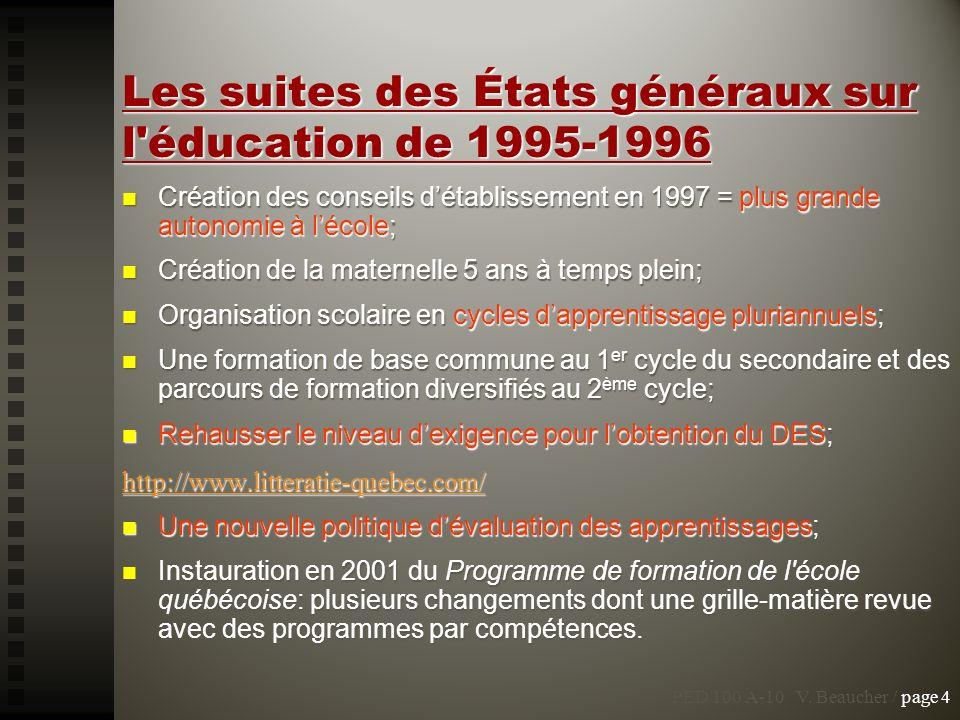 Les suites des États généraux sur l'éducation de 1995-1996 Création des conseils détablissement en 1997 = plus grande autonomie à lécole; Création des