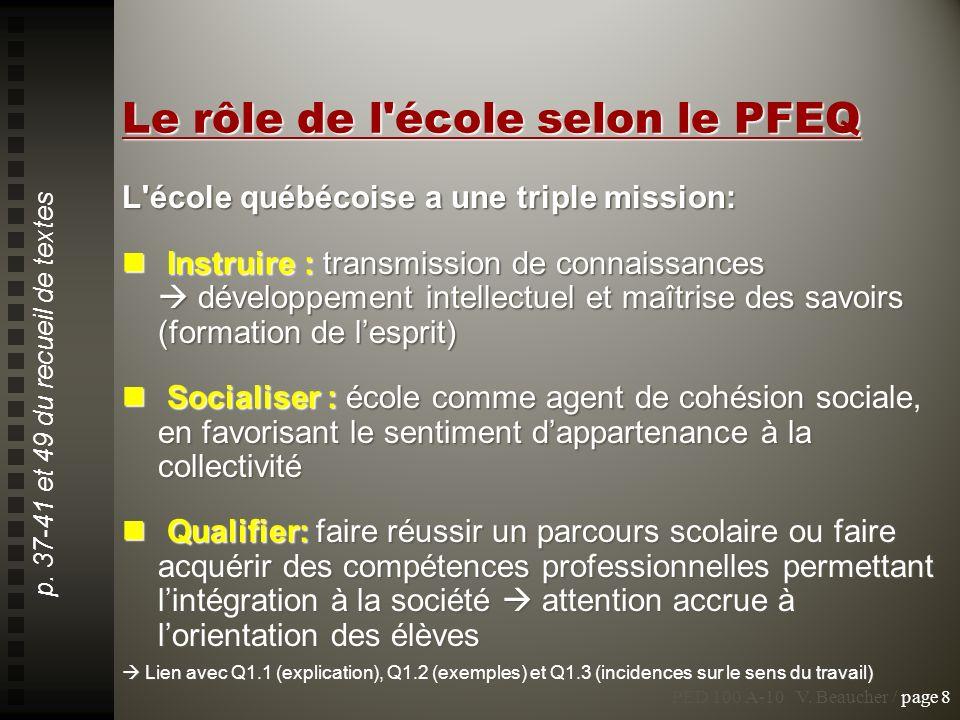 Le rôle de l'école selon le PFEQ L'école québécoise a une triple mission: Instruire : transmission de connaissances développement intellectuel et maît