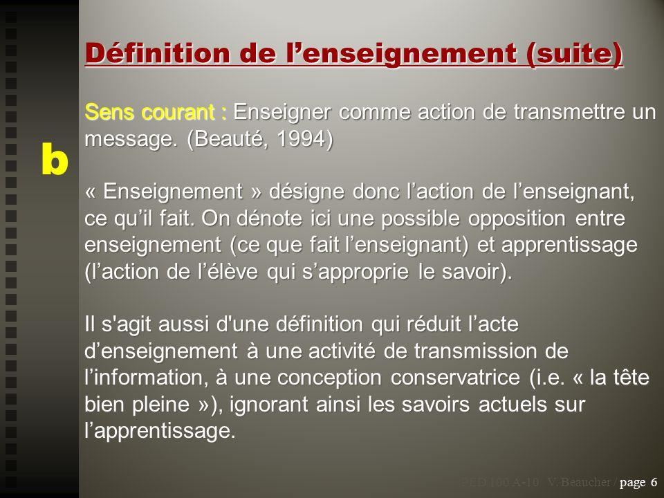 Sens courant : Enseigner comme action de transmettre un message. (Beauté, 1994) « Enseignement » désigne donc laction de lenseignant, ce quil fait. On