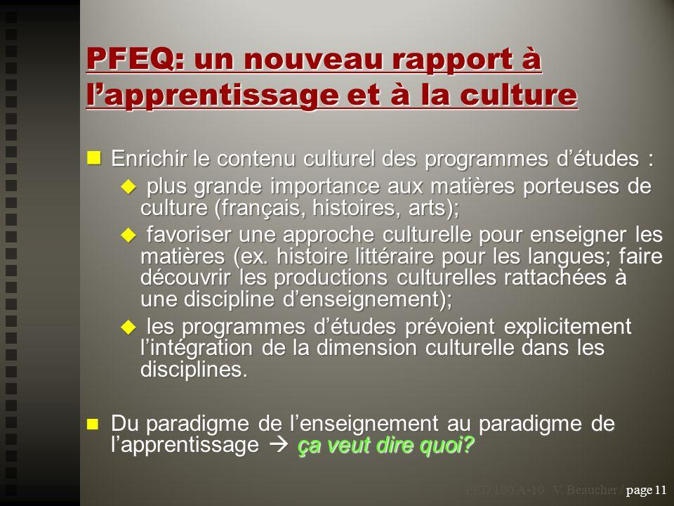 PFEQ: un nouveau rapport à lapprentissage et à la culture Enrichir le contenu culturel des programmes détudes : Enrichir le contenu culturel des progr