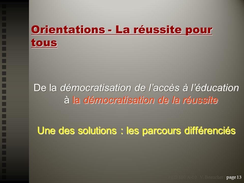 Orientations - La réussite pour tous De la démocratisation de laccès à léducation à la démocratisation de la réussite Une des solutions : les parcours