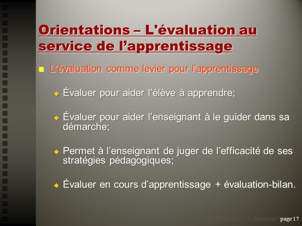 Orientations – L'évaluation au service de lapprentissage Lévaluation comme levier pour lapprentissage Lévaluation comme levier pour lapprentissage Éva