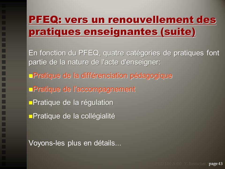 PED 100 A-10 V. Beaucher / page 43 PFEQ: vers un renouvellement des pratiques enseignantes (suite) En fonction du PFEQ, quatre catégories de pratiques