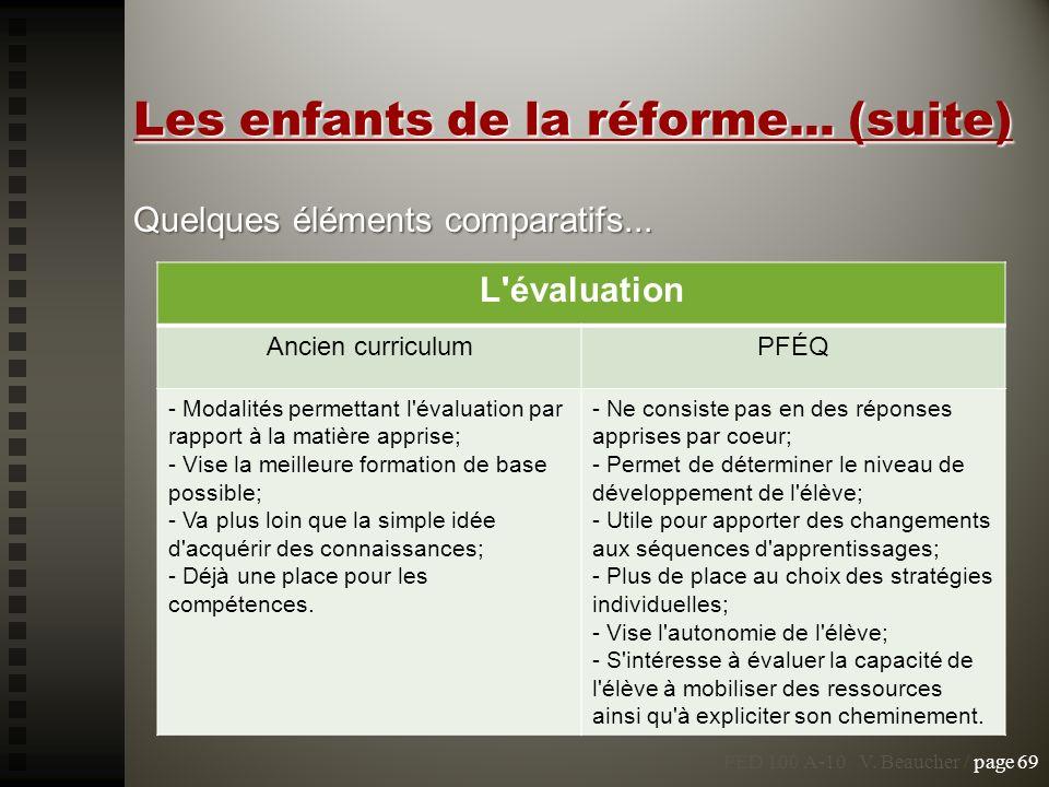 PED 100 A-10 V. Beaucher / page 69 Les enfants de la réforme... (suite) Quelques éléments comparatifs... L'évaluation Ancien curriculumPFÉQ - Modalité