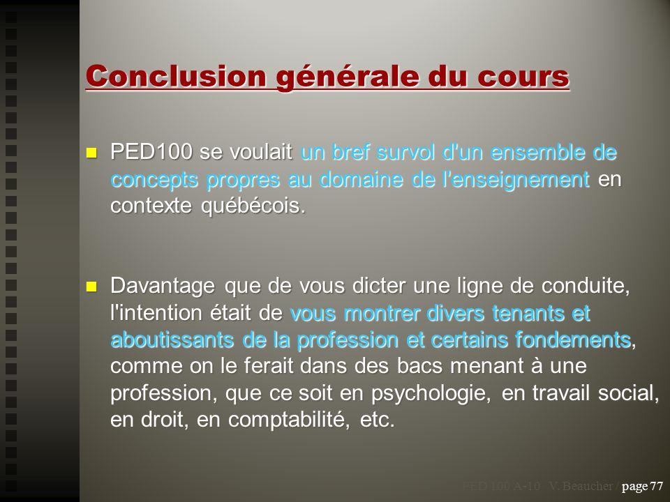 PED100 se voulait un bref survol d'un ensemble de concepts propres au domaine de l'enseignement en contexte québécois. PED100 se voulait un bref survo