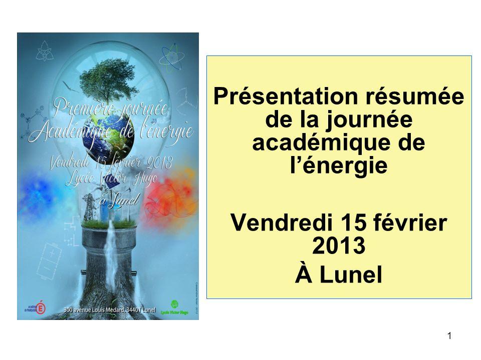 Présentation résumée de la journée académique de lénergie Vendredi 15 février 2013 À Lunel 1