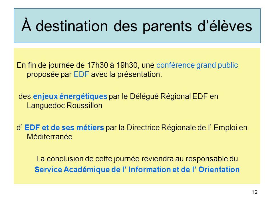 À destination des parents délèves En fin de journée de 17h30 à 19h30, une conférence grand public proposée par EDF avec la présentation: des enjeux én
