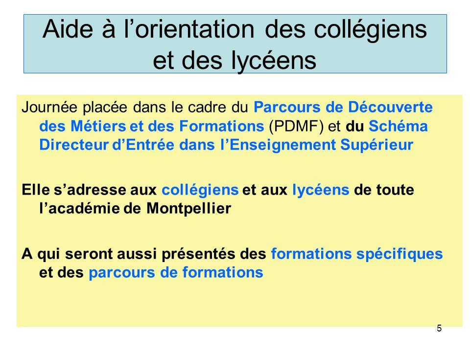 Aide à lorientation des collégiens et des lycéens Journée placée dans le cadre du Parcours de Découverte des Métiers et des Formations (PDMF) et du Sc