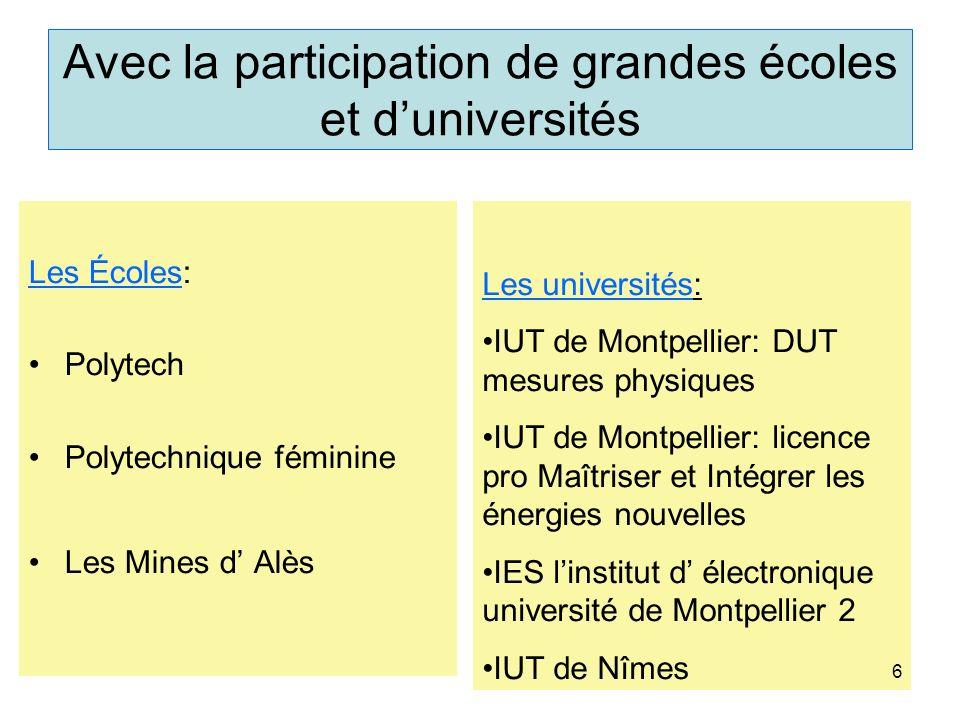 Avec la participation de grandes écoles et duniversités Les Écoles: Polytech Polytechnique féminine Les Mines d Alès Les universités: IUT de Montpelli