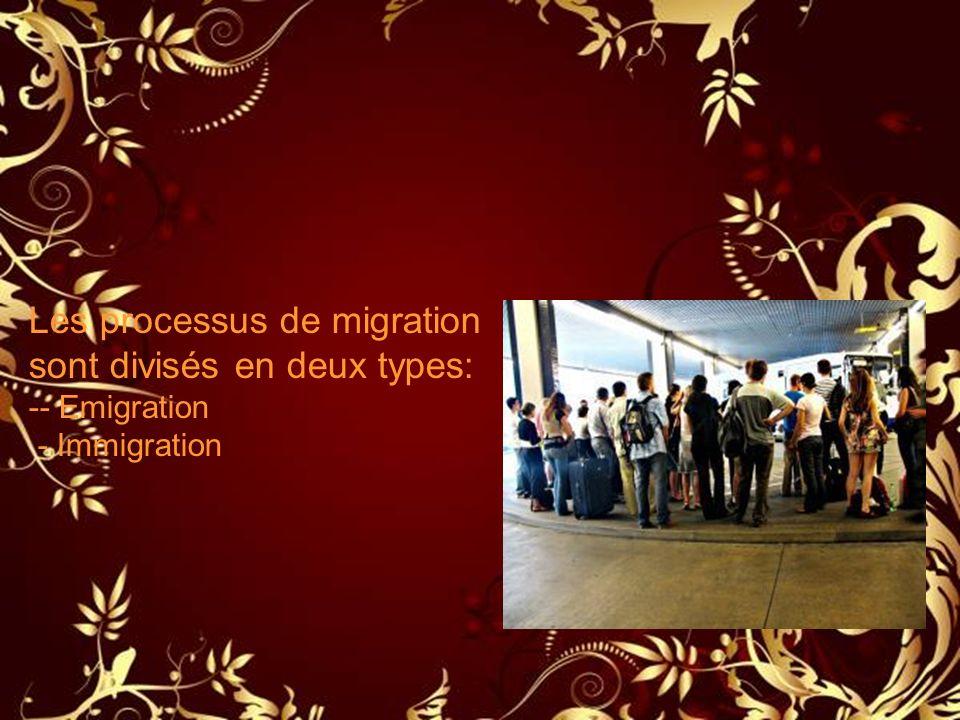 Les processus de migration sont divisés en deux types: -- Emigration - Immigration