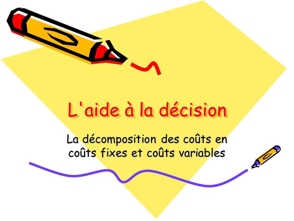 L'aide à la décision La décomposition des coûts en coûts fixes et coûts variables