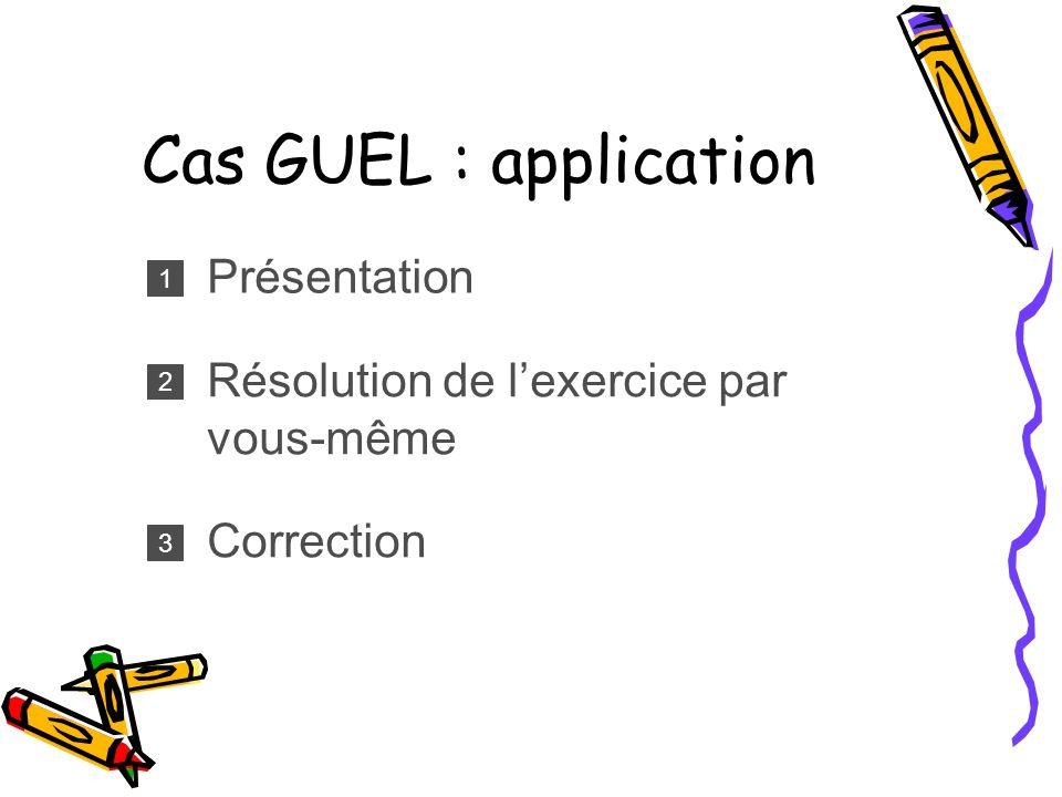 Cas GUEL : application Présentation 1 Résolution de lexercice par vous-même 2 Correction 3