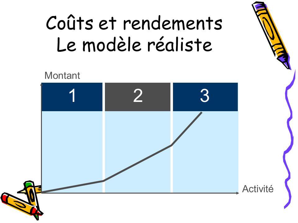 Montant Activité Coûts et rendements Le modèle réaliste 132