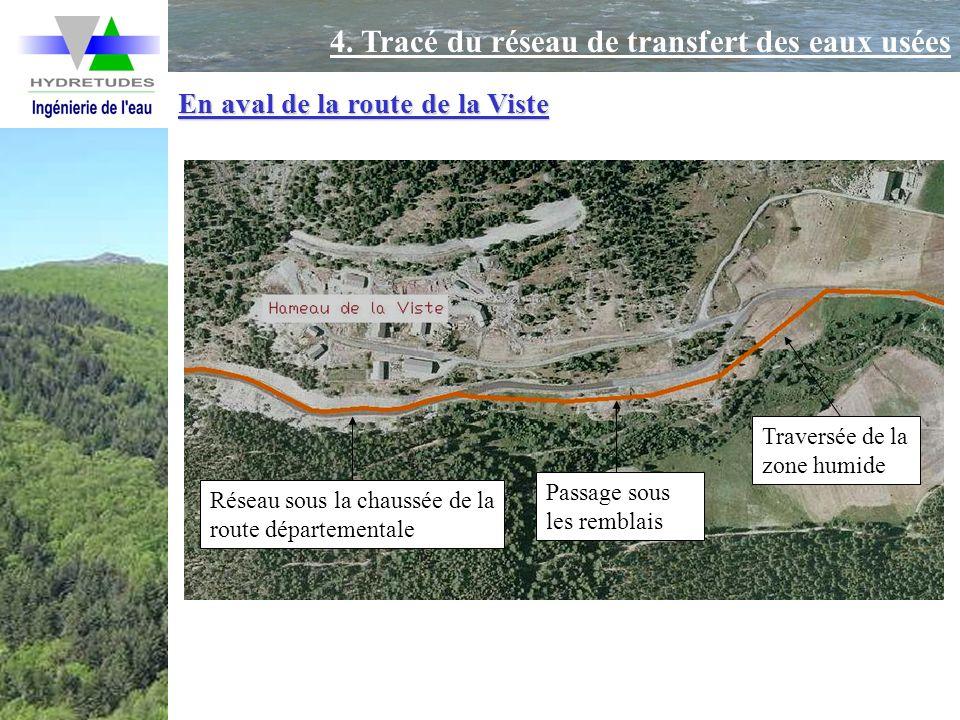 En aval de la route de la Viste Traversée de la zone humide Passage sous les remblais Réseau sous la chaussée de la route départementale 4. Tracé du r