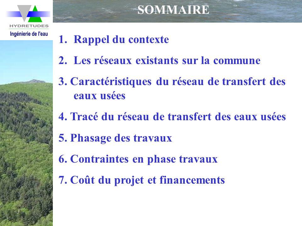 SOMMAIRE 1.Rappel du contexte 2.Les réseaux existants sur la commune 3. Caractéristiques du réseau de transfert des eaux usées 4. Tracé du réseau de t