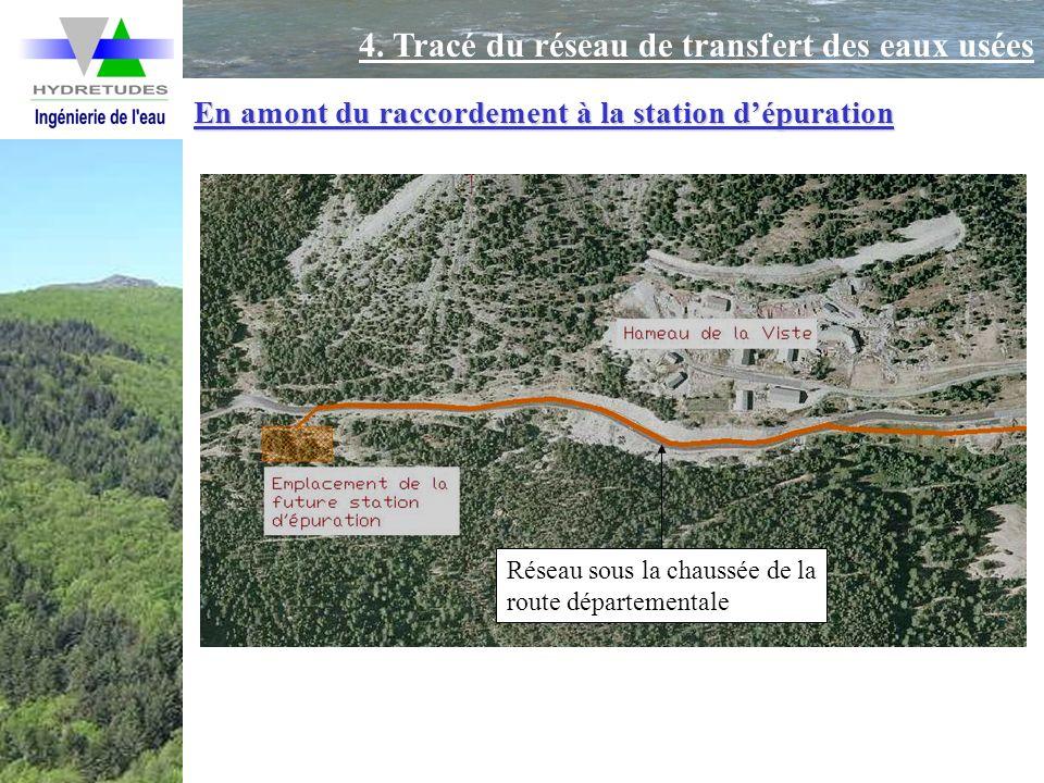 En amont du raccordement à la station dépuration Réseau sous la chaussée de la route départementale 4. Tracé du réseau de transfert des eaux usées