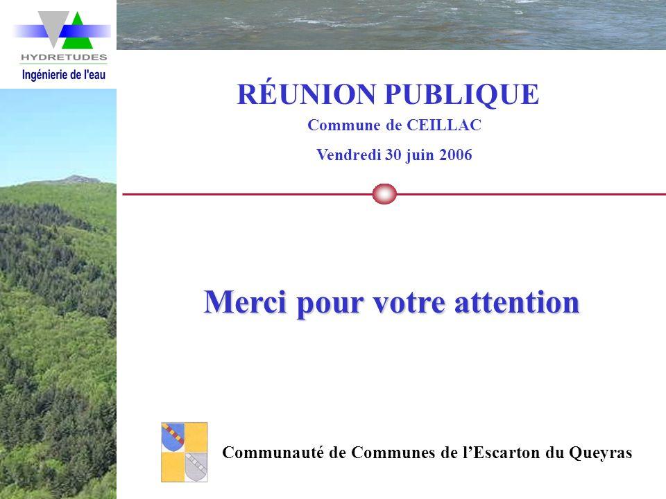 RÉUNION PUBLIQUE Commune de CEILLAC Vendredi 30 juin 2006 Communauté de Communes de lEscarton du Queyras Merci pour votre attention