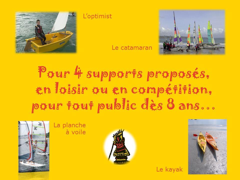 Pour 4 supports proposés, en loisir ou en compétition, pour tout public dès 8 ans… Loptimist Le catamaran La planche à voile Le kayak
