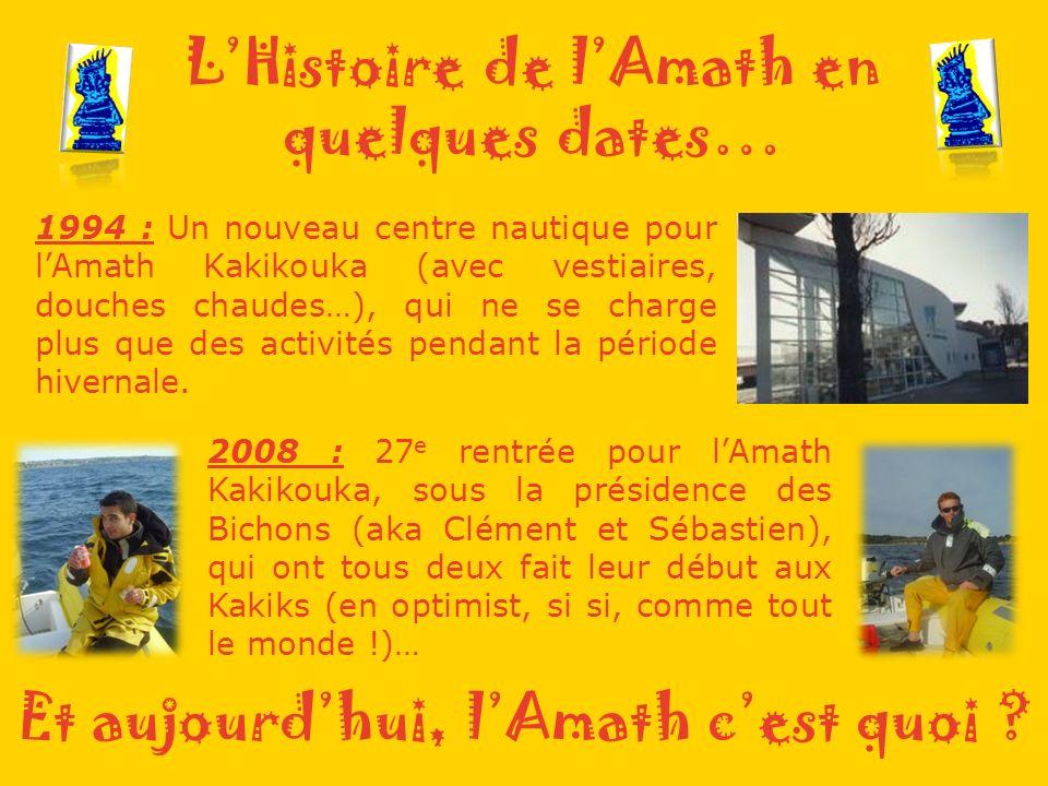 LHistoire de lAmath en quelques dates… 1994 : Un nouveau centre nautique pour lAmath Kakikouka (avec vestiaires, douches chaudes…), qui ne se charge plus que des activités pendant la période hivernale.