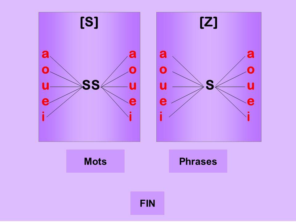 s [S]ao uSSuei [Z] a o uS u e i MotsPhrases FIN