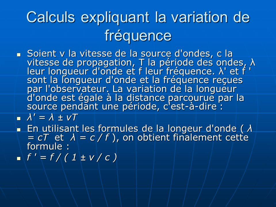 Calculs expliquant la variation de fréquence Soient v la vitesse de la source d'ondes, c la vitesse de propagation, T la période des ondes, λ leur lon