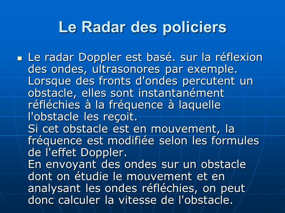 Le Radar des policiers Le radar Doppler est basé. sur la réflexion des ondes, ultrasonores par exemple. Lorsque des fronts d'ondes percutent un obstac