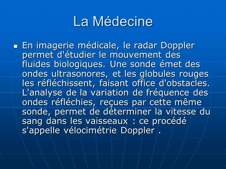 La Médecine En imagerie médicale, le radar Doppler permet d'étudier le mouvement des fluides biologiques. Une sonde émet des ondes ultrasonores, et le