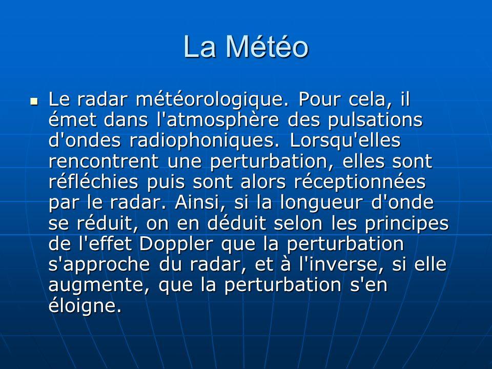 La Météo Le radar météorologique. Pour cela, il émet dans l'atmosphère des pulsations d'ondes radiophoniques. Lorsqu'elles rencontrent une perturbatio