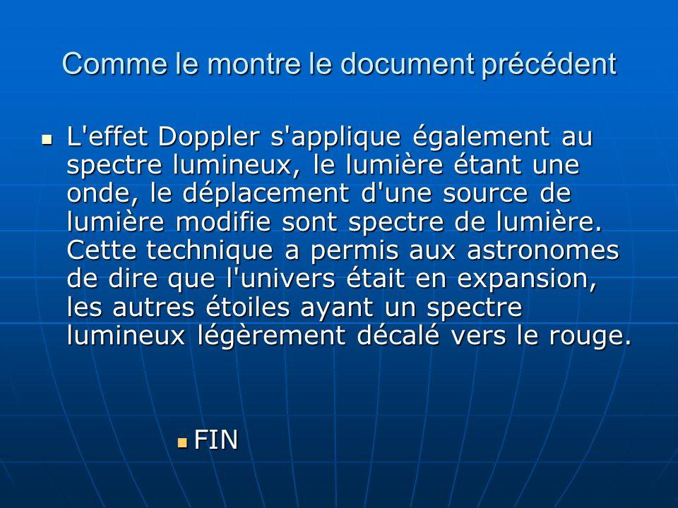 Comme le montre le document précédent L'effet Doppler s'applique également au spectre lumineux, le lumière étant une onde, le déplacement d'une source