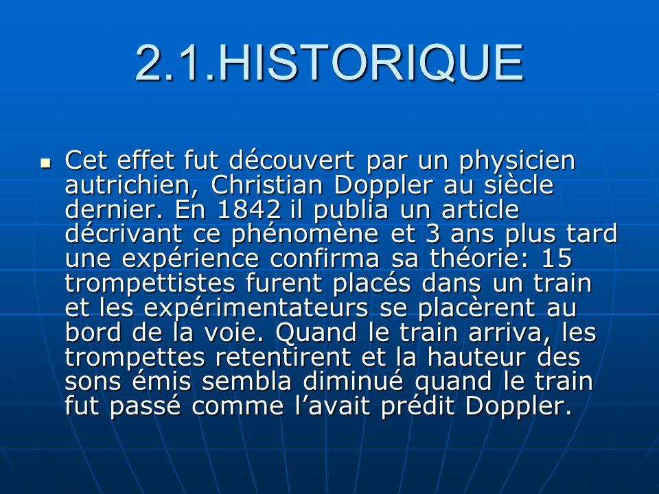 2.1.HISTORIQUE Cet effet fut découvert par un physicien autrichien, Christian Doppler au siècle dernier. En 1842 il publia un article décrivant ce phé
