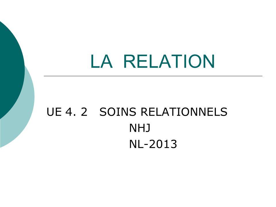 LA RELATION UE 4. 2 SOINS RELATIONNELS NHJ NL-2013