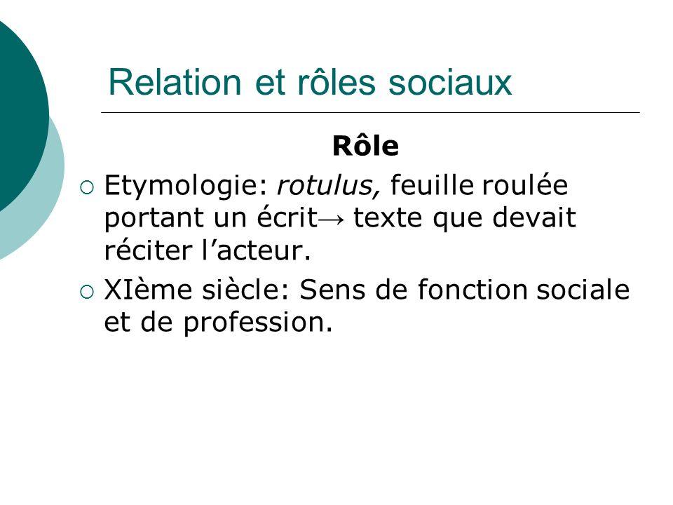 Relation et rôles sociaux Origine des rôles 1)La première relation mère/enfant est appelée « fusionnelle ».
