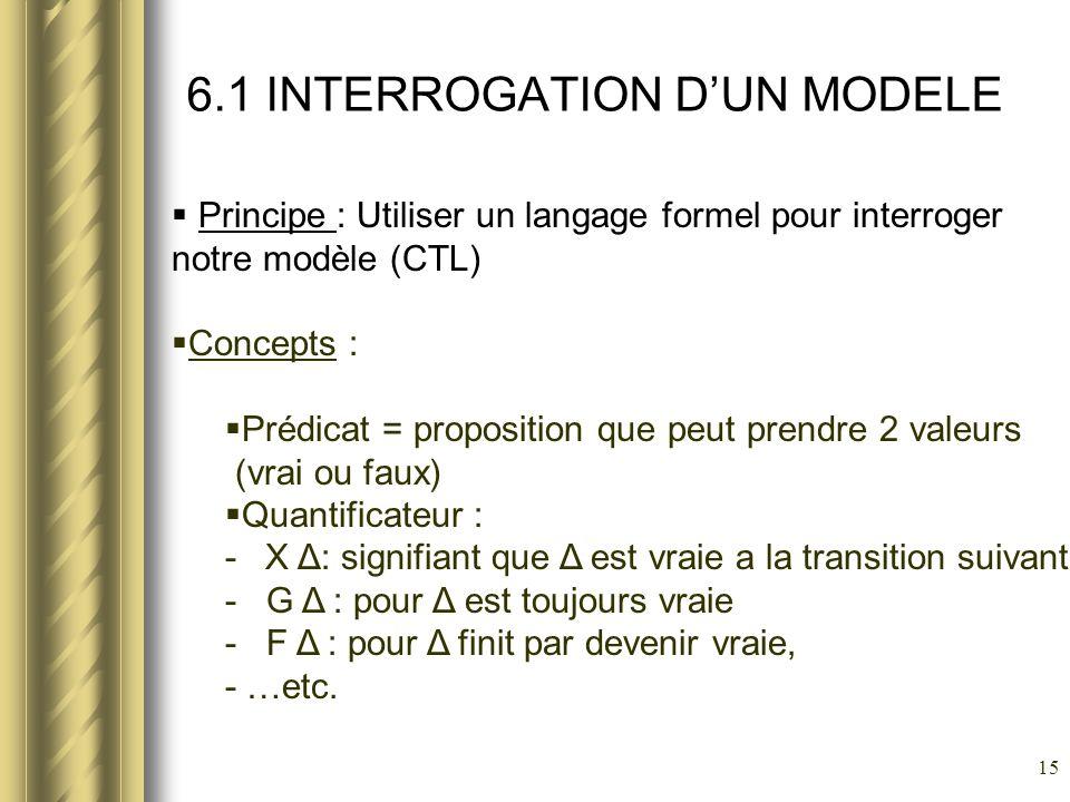15 6.1 INTERROGATION DUN MODELE Principe : Utiliser un langage formel pour interroger notre modèle (CTL) Concepts : Prédicat = proposition que peut pr
