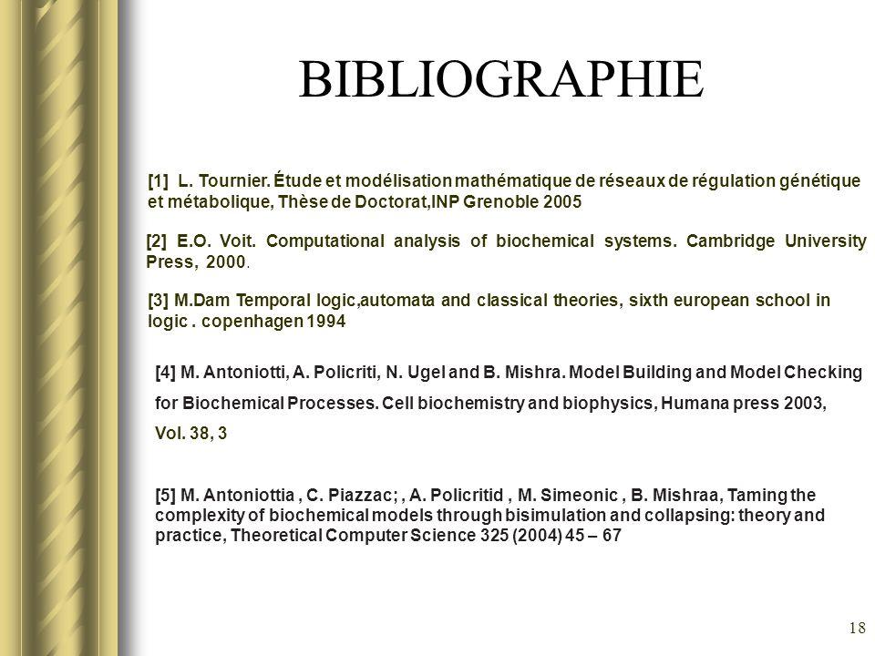 18 BIBLIOGRAPHIE [1] L. Tournier. Étude et modélisation mathématique de réseaux de régulation génétique et métabolique, Thèse de Doctorat,INP Grenoble