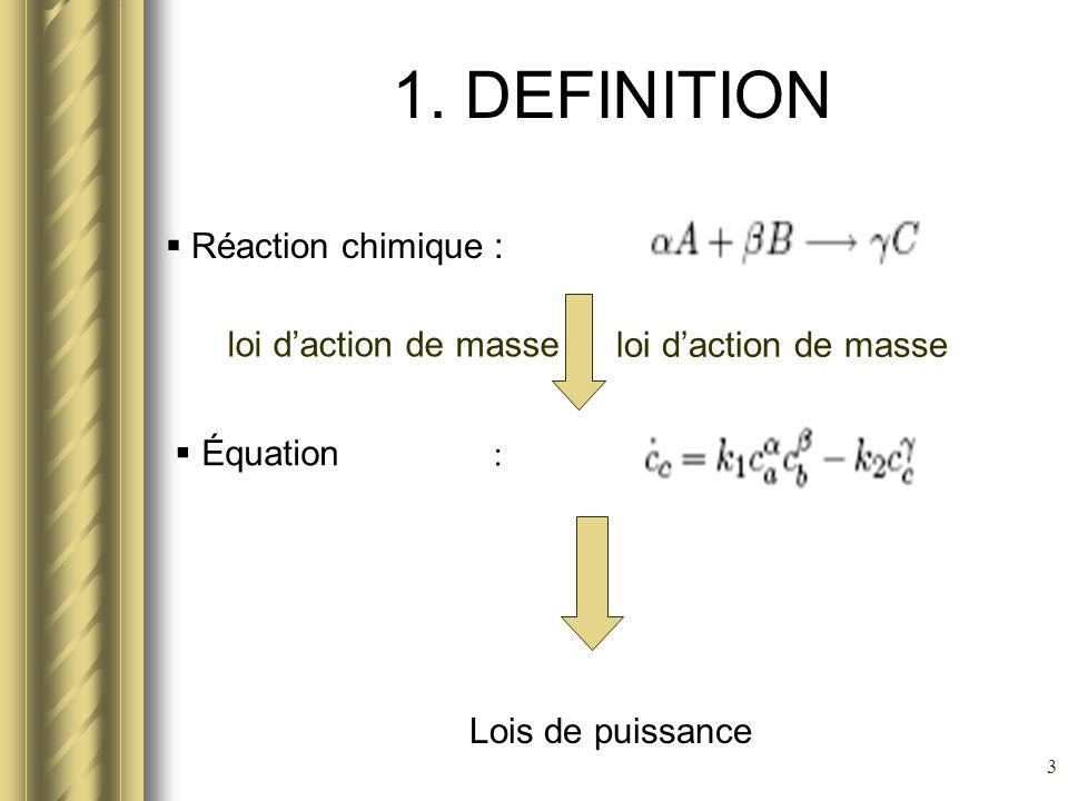 3 1. DEFINITION Réaction chimique : Équation : loi daction de masse Lois de puissance
